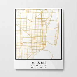 MIAMI FLORIDA CITY STREET MAP ART Metal Print