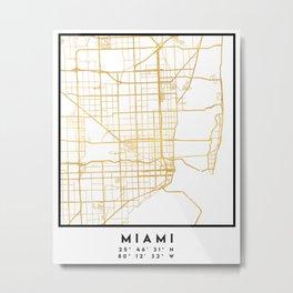 MIAMI FLORIDA CITY STREET MAP ART Metal Print