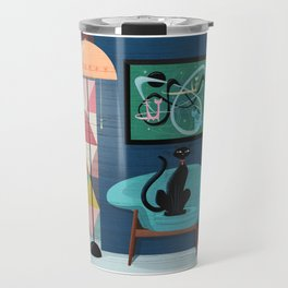 Creature Comforts Mid-Century Interior With Black Cat Travel Mug