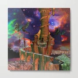Fantasy Worlds Dragon Wars Science Fiction Metal Print