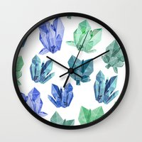 crystals Wall Clocks featuring Crystals by Marta Olga Klara