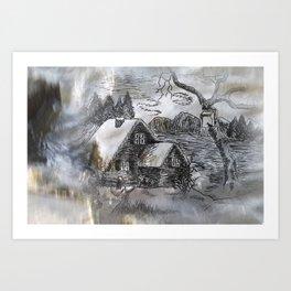ink sketch - village in winter -3- Kunstdrucke