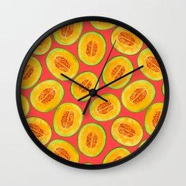 Melon slices watercolor pattern Wall Clock