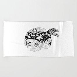 TMNT Leonardo B&W Beach Towel