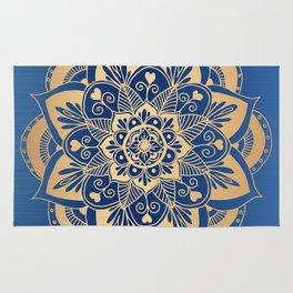 Blue and Gold Flower Mandala Rug