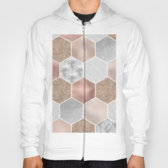 Gentle rose gold and marble hexagons Hoody