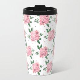 Pastel pink green hand painted floral polka dots illustration Travel Mug