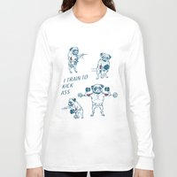 workout Long Sleeve T-shirts featuring Pug Workout by Huebucket