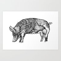 pig Art Prints featuring Pig by Rebexi
