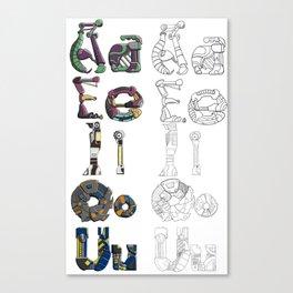 Mechanical Vowels Canvas Print