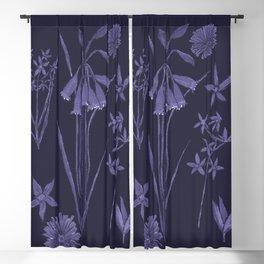 Wildflowers in dark blue Blackout Curtain