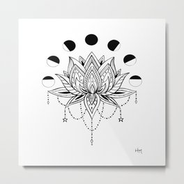 Moon Phase Lotus Metal Print