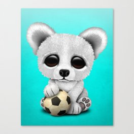 Cute Baby Polar Bear With Football Soccer Ball Canvas Print