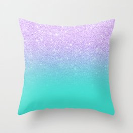 Modern mermaid lavender glitter turquoise ombre pattern Throw Pillow