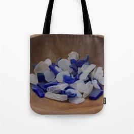 Cobalt and White Sea Glass Tote Bag