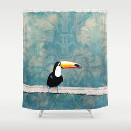 toucano tropical blue Shower Curtain