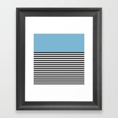 STRIPE COLORBLOCK {DUSK BLUE} Framed Art Print
