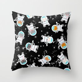 Astronaut Space Cats With Constellations Throw Pillow