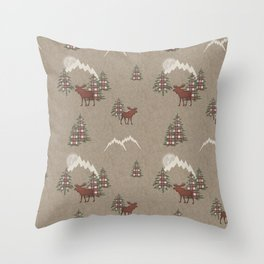 Moose and Mountains Pattern Throw Pillow