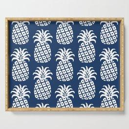 Retro Mid Century Modern Pineapple Pattern Navy Blue 2 Serving Tray