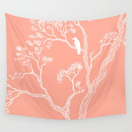 Crow in a tree peach color Wall Tapestry