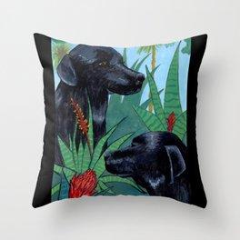 Jungle Dogs Throw Pillow