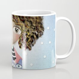 Art Doll - Kids Decor - Cat Winter snowing Coffee Mug
