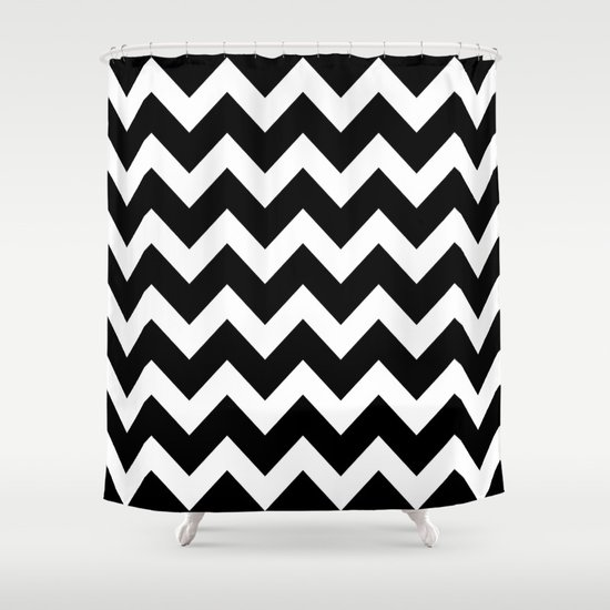 chevron black white shower curtain by beautiful homes