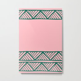 Boho Ethnic Pattern No 02 - Pink and Green Metal Print