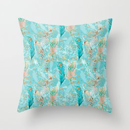 Feather peacock peach mint #8 Throw Pillow