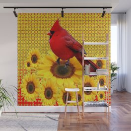 RED CARDINAL YELLOW SUNFLOWERS ART Wall Mural