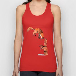 Jumping Red Fox Unisex Tank Top