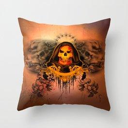 Amazing creepy skull with flying skulls Throw Pillow