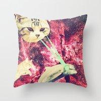 saga Throw Pillows featuring Galactic Cats Saga 2 by Carolina Nino