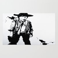 grimes Area & Throw Rugs featuring Carl Grimes  by Black And White Store