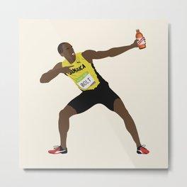 Usain Bolt Drinking Jamaican Red Stripe Beer Metal Print