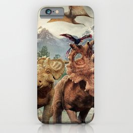 Jurassic dinosaurs playing iPhone Case