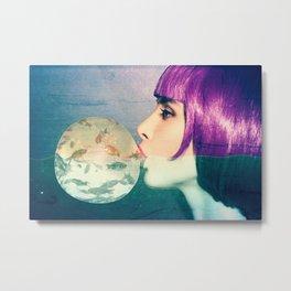 Siren with bubble gum Metal Print