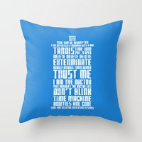 tardis Throw Pillows featuring Tardis by Tombst0ne