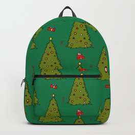 Green Christmas Trees Candy Gift Boxes Pattern Backpack