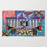 lincoln Area & Throw Rugs featuring Lincoln Memorial by Art By Carob