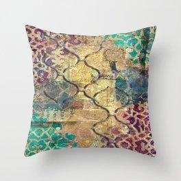 Morocco mixed media, travel, explore, journey Throw Pillow