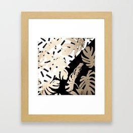 Simply Tropical Midnight Black Memphis Palm Leaves Framed Art Print