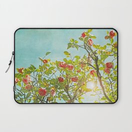 Pink Camellia japonica Blossoms and Sun in Blue Sky Laptop Sleeve
