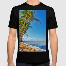 Coconut palms in Tropical North Queensland MEDIUM Black Mens Fitted Tee