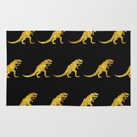 trex Area & Throw Rugs featuring Golden T.Rex Pattern by chobopop