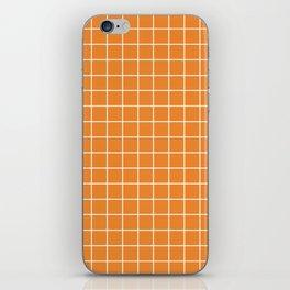 Cadmium orange - orange color - White Lines Grid Pattern iPhone Skin