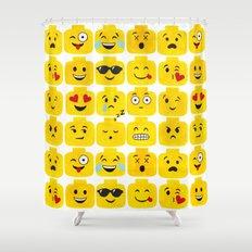 Emoji-Minifigure Shower Curtain