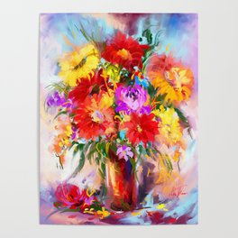 Midday flowers in vase    Poster