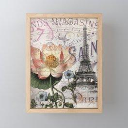 french scripts lotus floral vintage paris eiffel tower Framed Mini Art Print